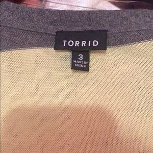 torrid Sweaters - Torrid Gray and Yellow striped cardigan